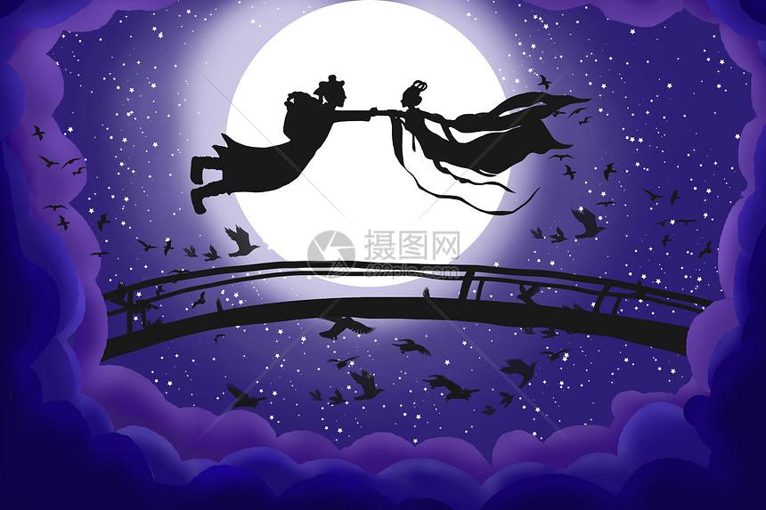 七夕手绘插画图片