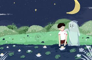 中元节放河灯插画图片