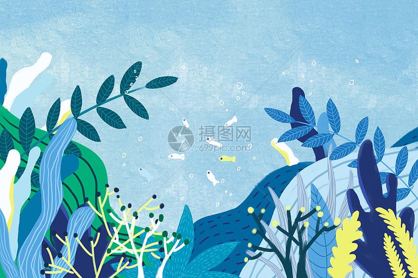 蓝色植物手绘背景图片