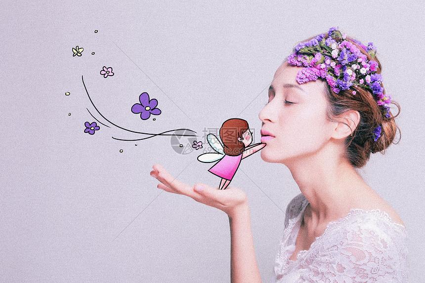 花仙子创意摄影插画图片