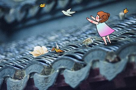 放飞小鸟创意摄影插画图片