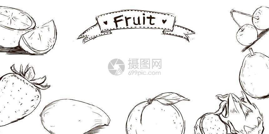 手绘风水果元素图片