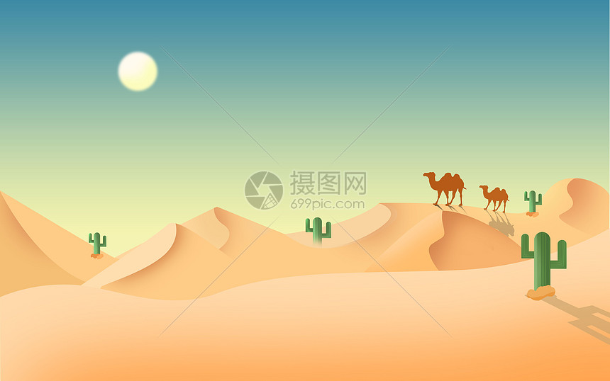 沙漠插画图片