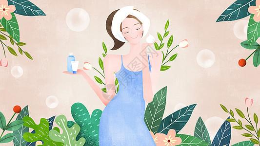 粉色清新美妆美女洗面洁面插画图片