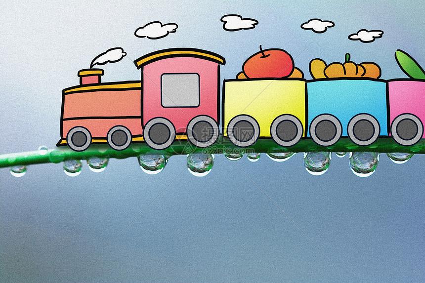 卡通小火车创意摄影插画图片