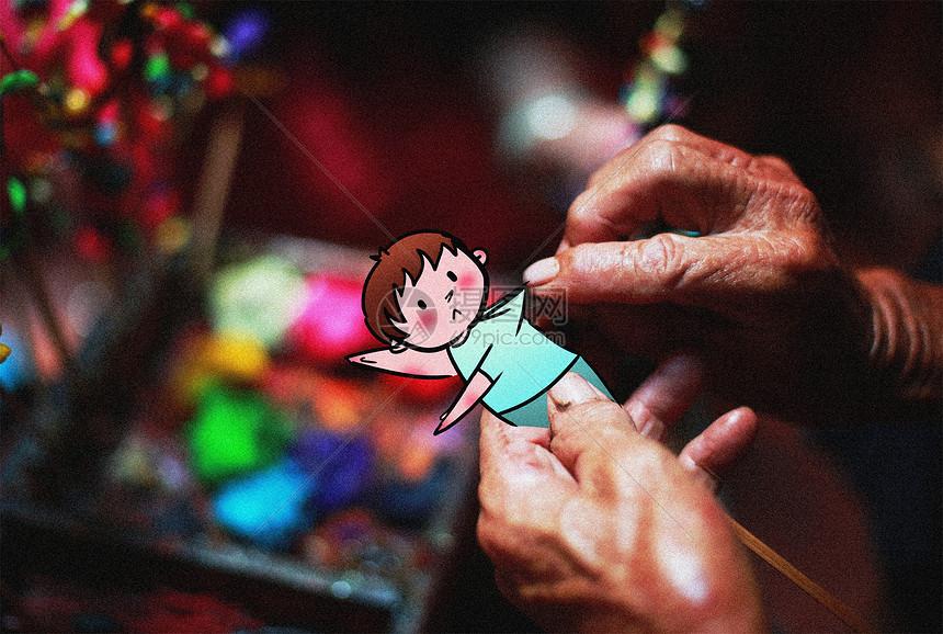 捏娃娃创意摄影插画图片