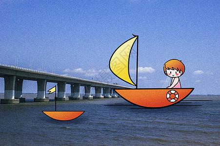扬帆起航创意摄影插画图片