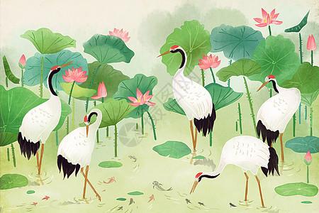 中国风水彩仙鹤图片