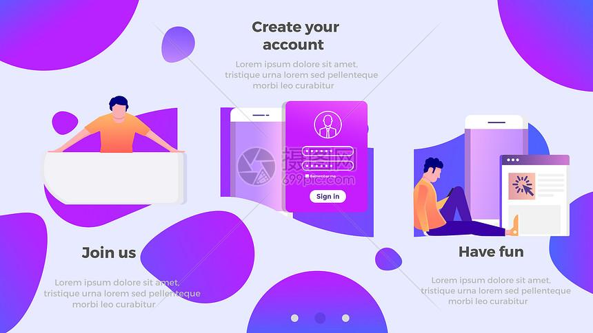 蓝紫色商务风网页元素插画图片