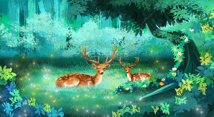 林中鹿图片