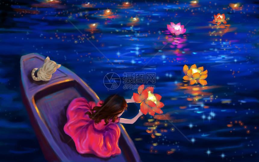 中元节放河灯图片
