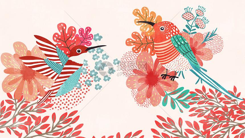 红色花鸟嬉戏自然美景插画图片