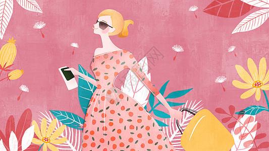 水红色清新风时尚美女插画图片