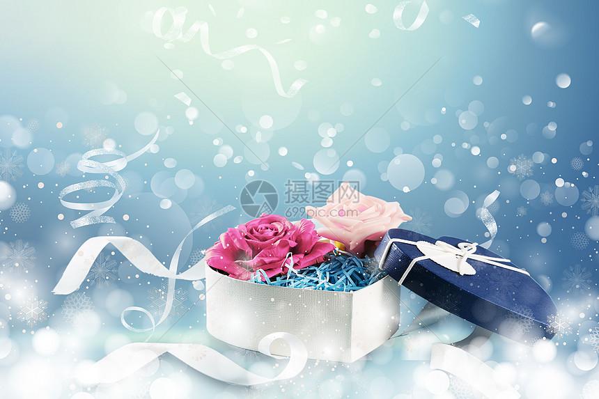 蓝色礼盒背景图片