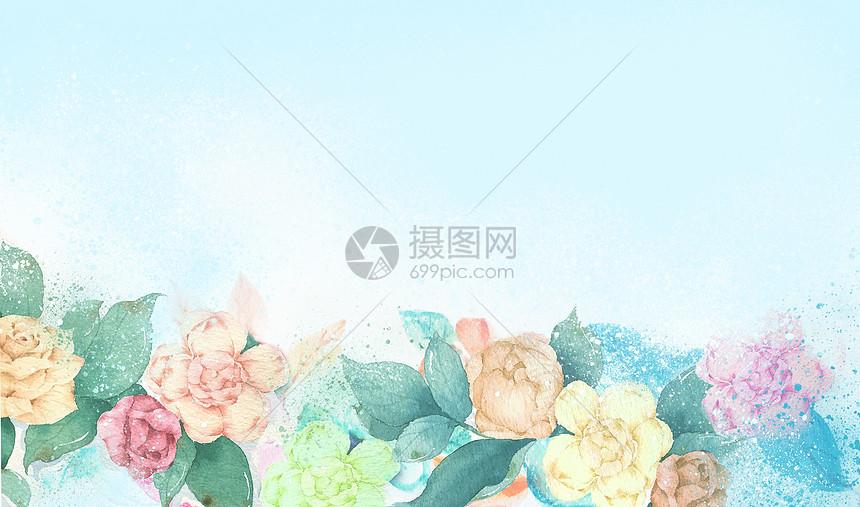 夏日鲜花水彩手绘背景图片
