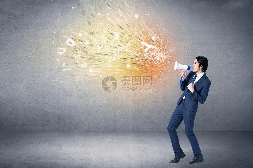 呐喊的商人图片