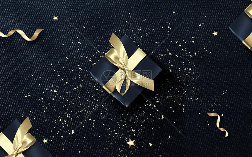 黑金礼盒背景图片
