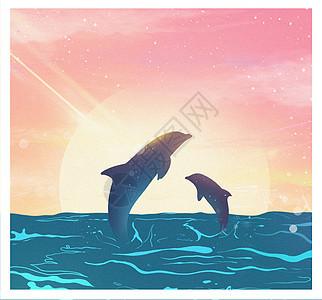 两只海豚图片