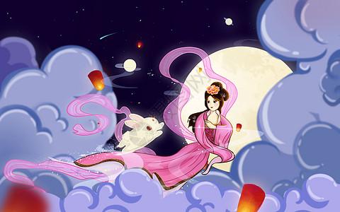 嫦娥玉兔奔月图图片