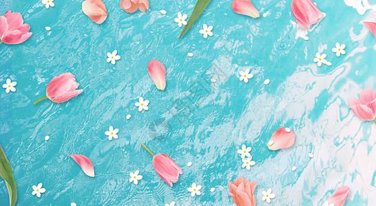 蓝底花瓣背景图片