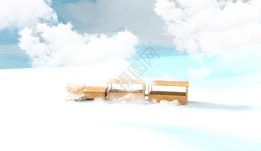 云中的火车图片