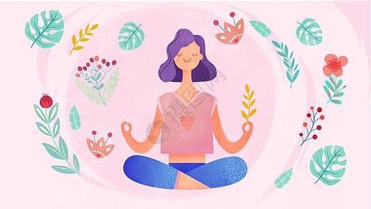 粉色清新风瑜伽运动有氧健身美女插画图片