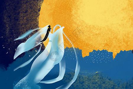 嫦娥奔月中秋节插画图片