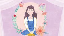紫色韩系风清新女孩花朵i插画图片
