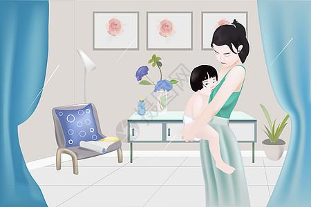 窗内的一角----妈妈与小宝宝图片