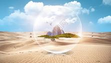 创意沙漠城市环保场景图片