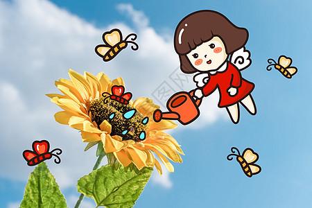 向日葵创意摄影插画图片