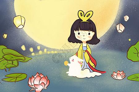 嫦娥与玉兔中秋节插画图片