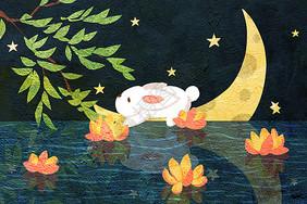 中秋节团圆夜放花灯插画图片