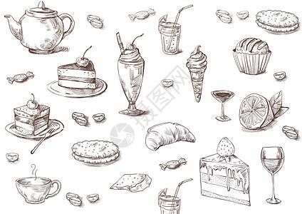 复古美食背景图片