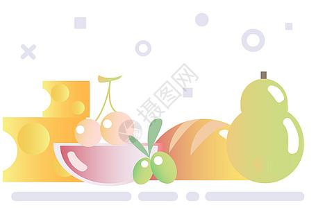 清新瓜果食物插画图片