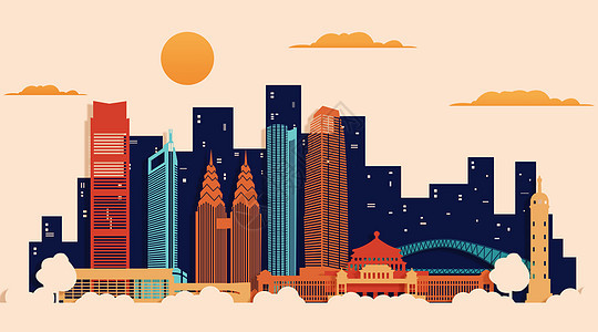 重庆扁平地标都市图片