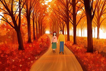 秋天出游的情侣图片