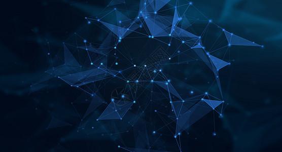 蓝色几何线条科技背景图片