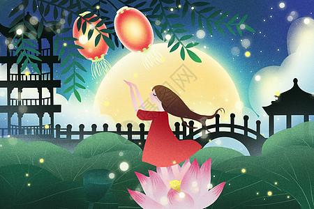 唯美中秋节插画图片