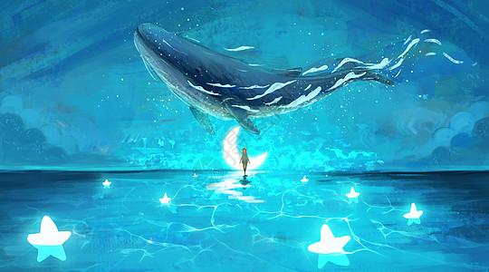 女孩在梦境中与鲸鱼邂逅图片