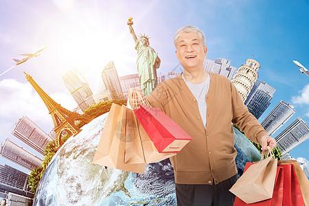老年人旅游购物图片