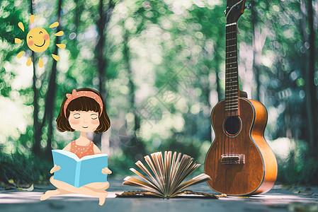 吉他旁看书的小女孩创意摄影插画图片