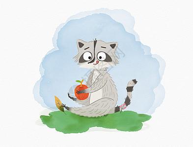 卡通的小浣熊图片