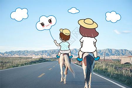 公路骑马创意摄影插画图片