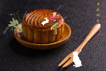 中秋节月饼创意摄影插画图片