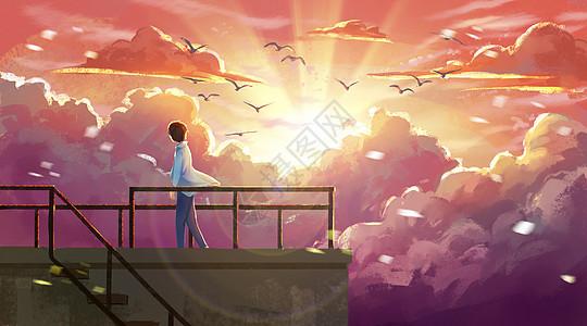 屋顶遥望晚霞的少年图片
