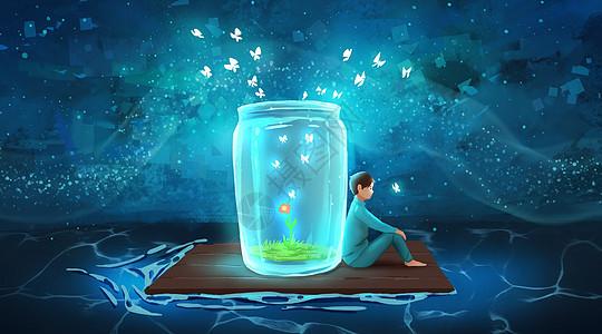 与魔法玻璃瓶一起漂流的少年图片