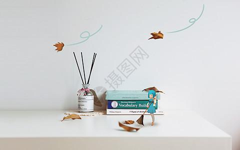 扫落叶创意摄影插画图片