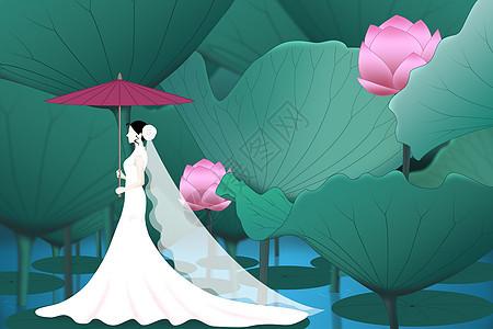 荷塘新娘图片