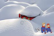 雪地情侣和狗狗图片